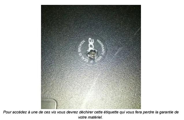 Etiquette garantie C720P