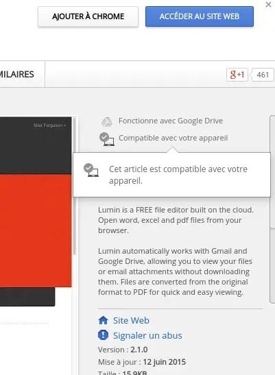Compatibilité application Chrome Web Store