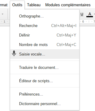 Saisie vocale Google Docs