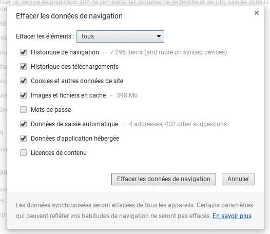 Effacer données navigation chrome OS