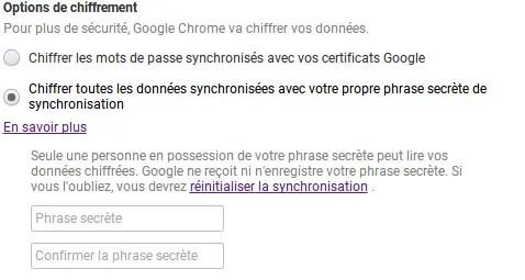 Sécuriser vos données chrome avec une passphrase