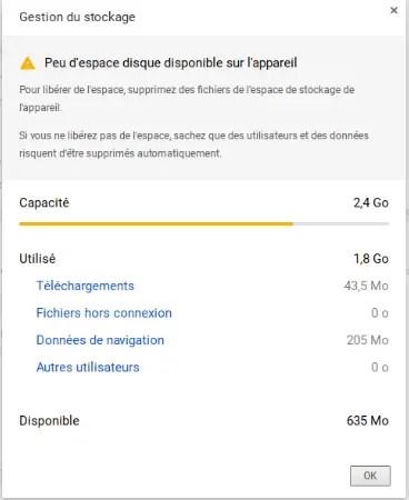 Gestion de la mémoire de stockage sur Chromebook