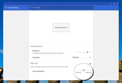 Choisissez la température de la couleur du mode nuit dans Chrome OS