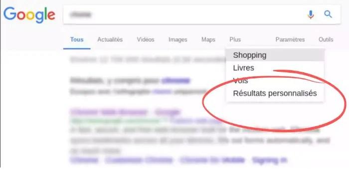 Google active un onglet de recherche personnalisée