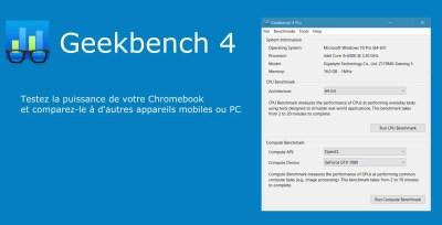 GeekBench 4 mesure la puissance de votre Chromebook