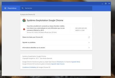 La procédure de mise à jour de Chrome OS différencie Accès haut débit et Données mobile