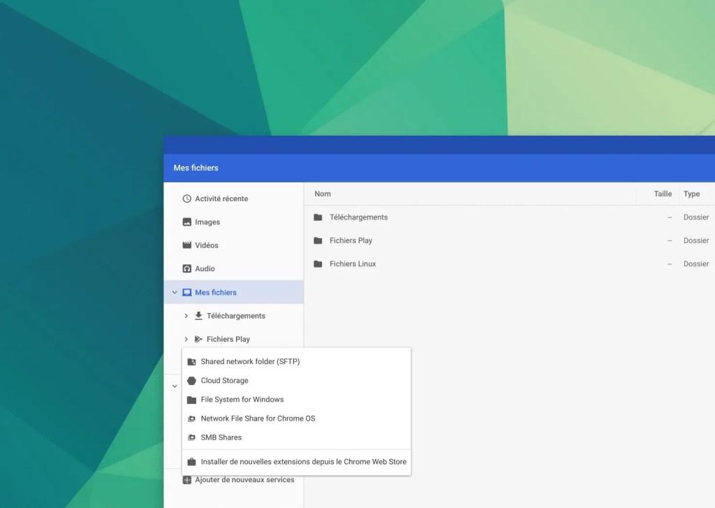 Ajouter le service File system for Windows sur ChromeOS et Chromebook