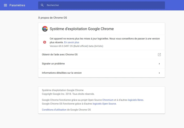 Information d'arrêt de mise à jour du système.