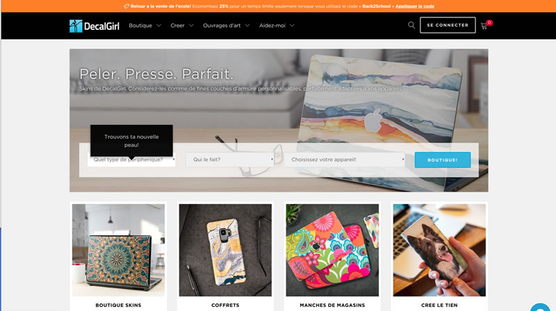 Page d'accueil du site decalgirl.com