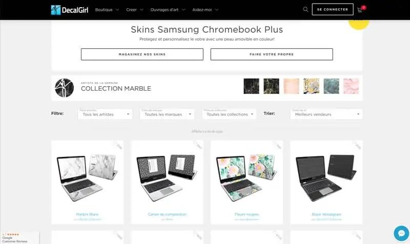 Page intérieure du site decalgirl.com