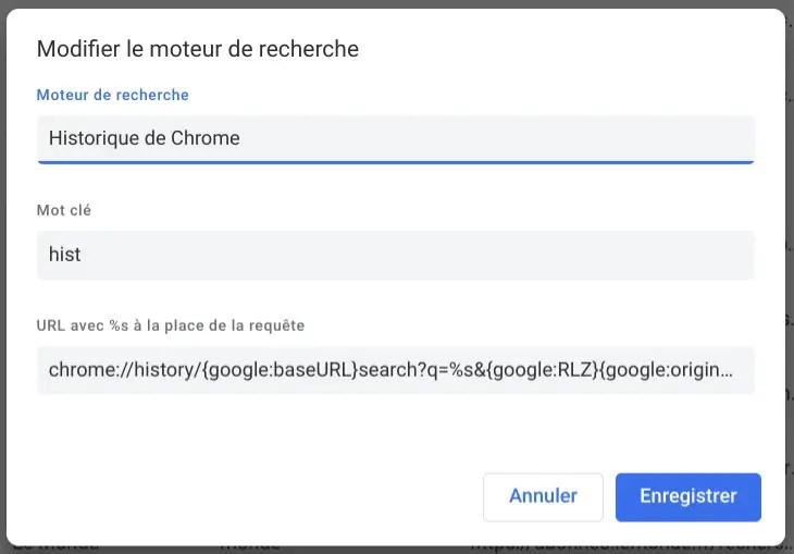 Fenêtre Modifier le moteur de recherche