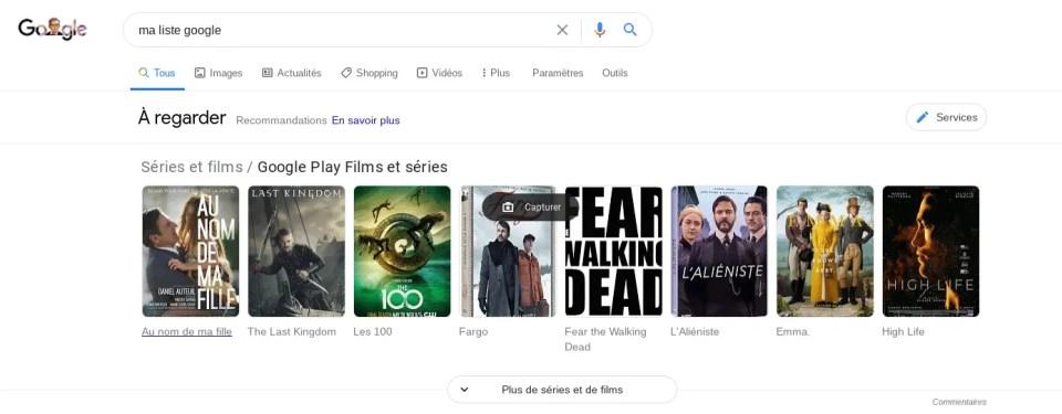 Ma liste de films sur Google