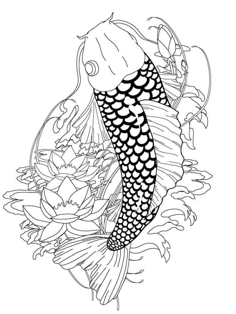 KOI Fish coloring pages for adults. Free Printable KOI