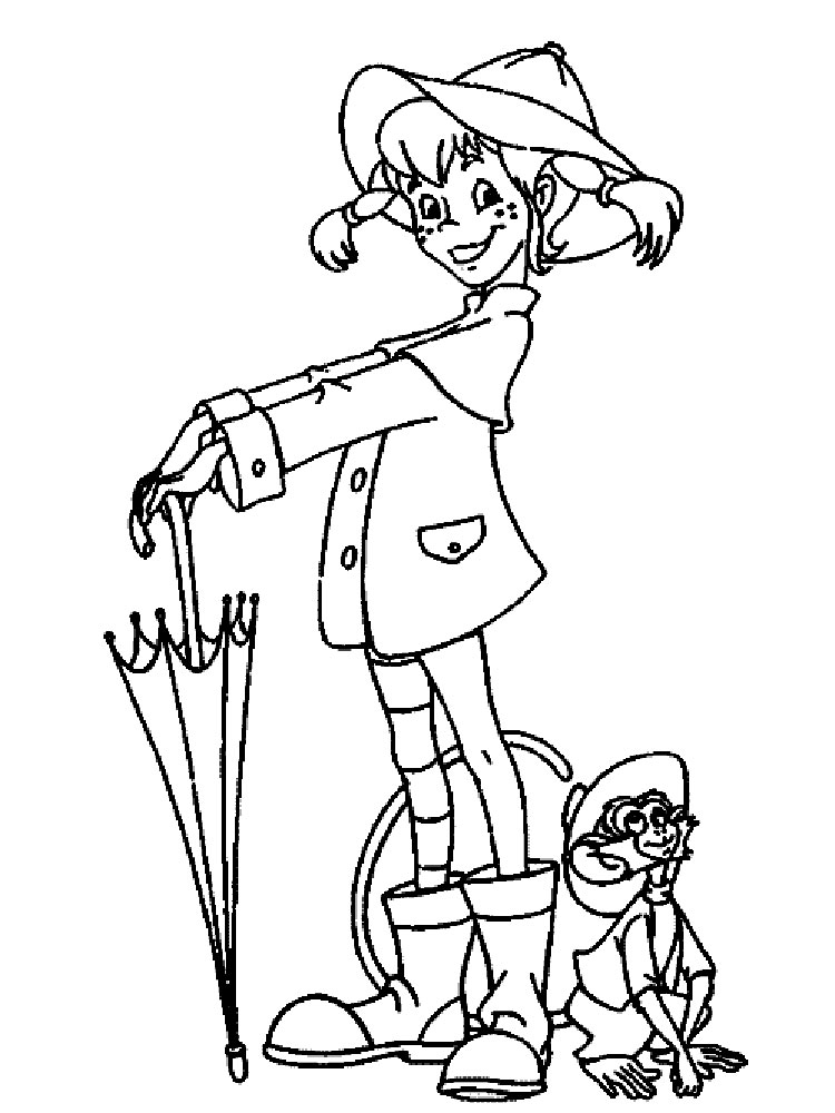 Pippi Longstocking coloring pages. Download and print