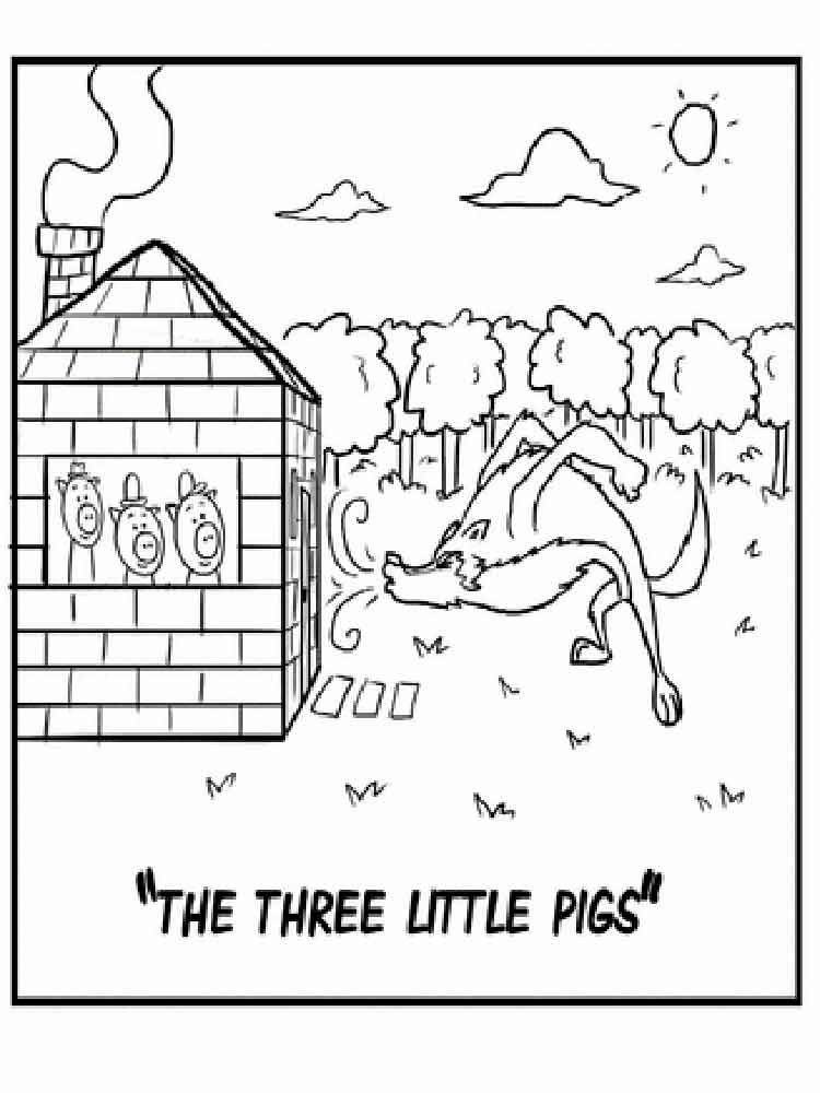 Three little Pigs coloring pages. Free Printable Three