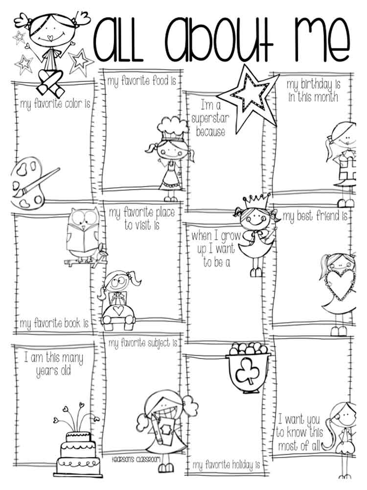 All About Me coloring pages. Free Printable All About Me