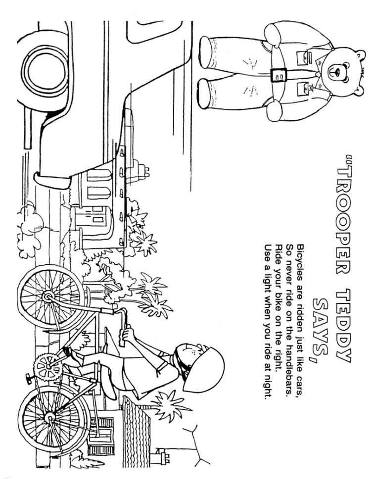 Bicycle Safety coloring pages. Free Printable Bicycle