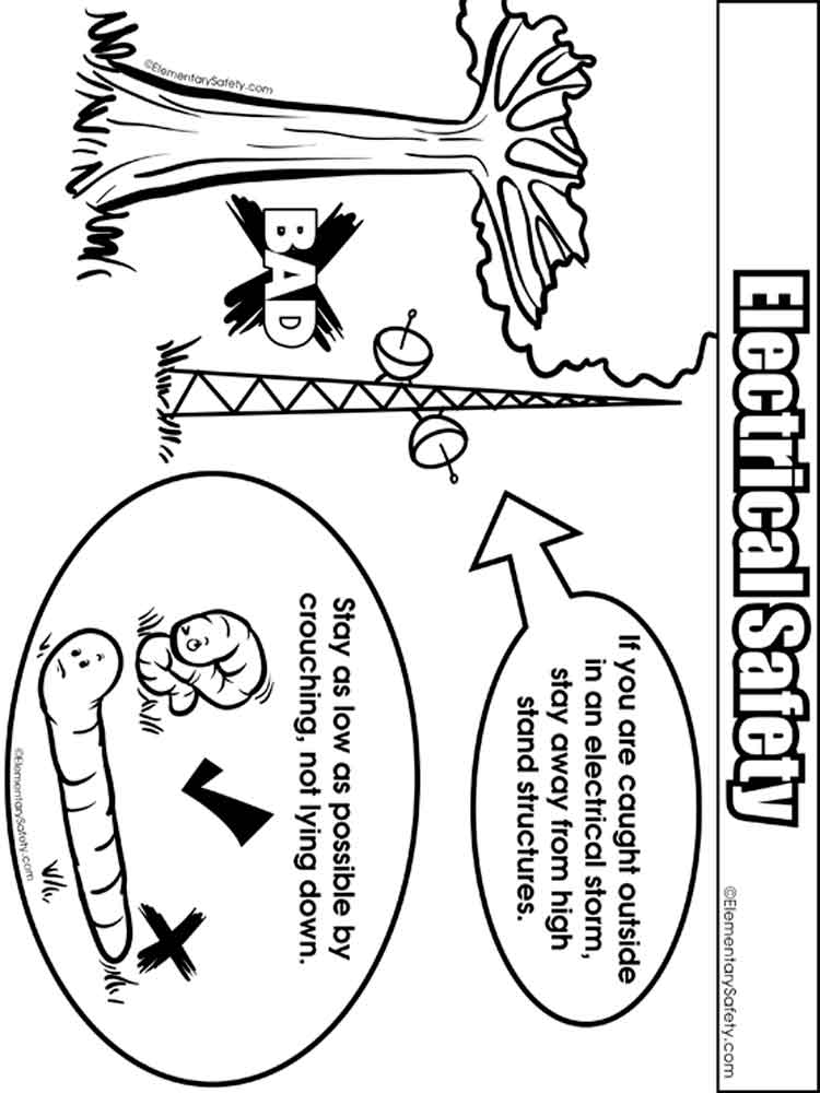 Electrical Safety coloring pages. Free Printable