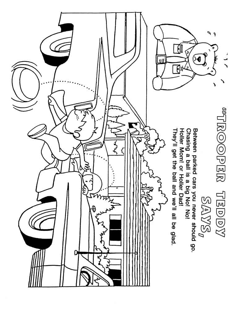 Road & street Safety coloring pages. Free Printable Road