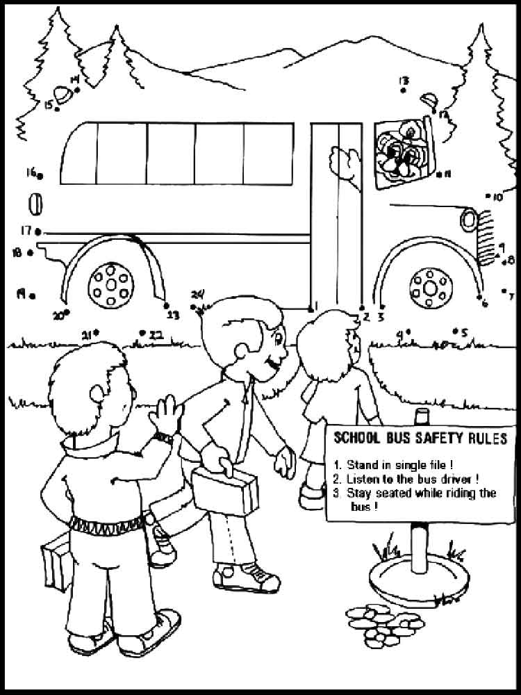 School Bus Safety coloring pages. Free Printable School