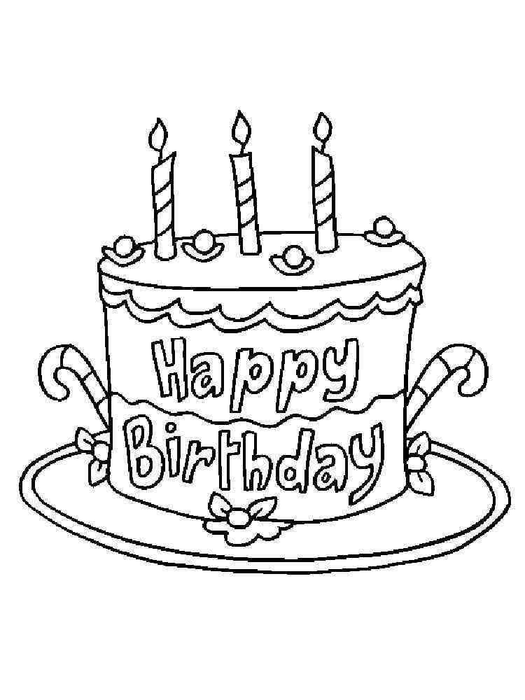 Birthday Cake coloring pages. Free Printable Birthday Cake