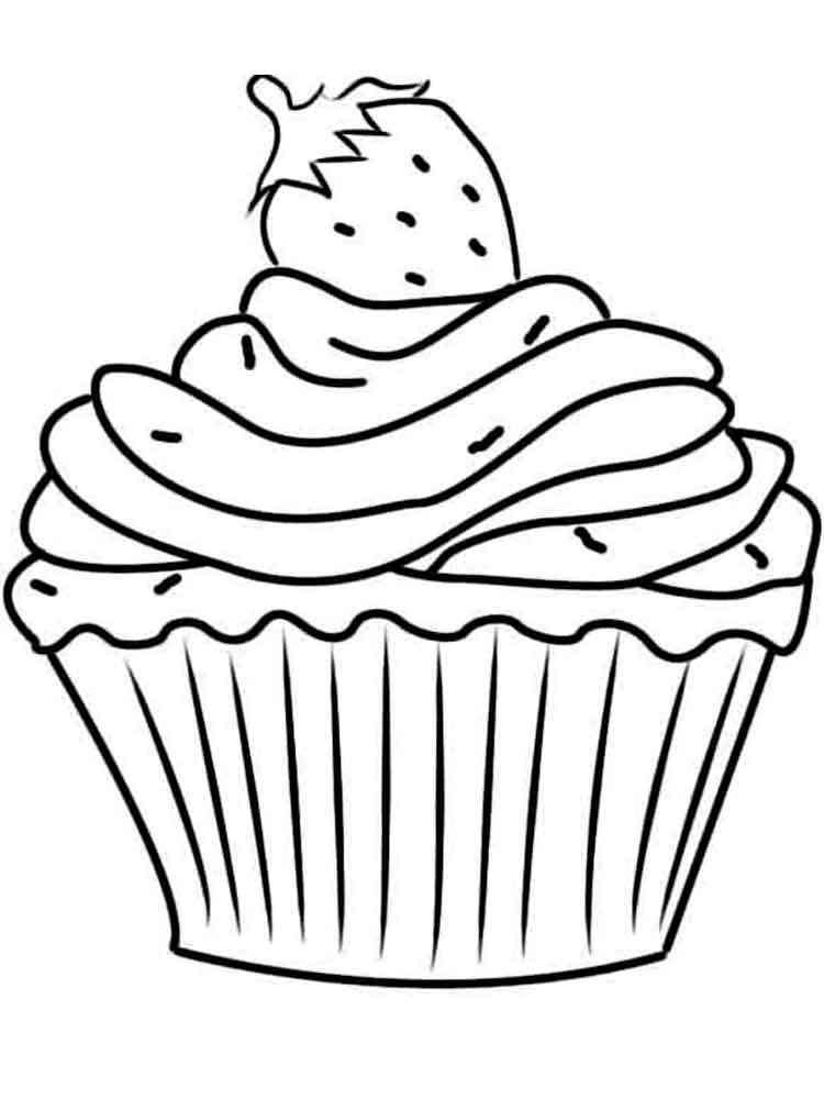 Birthday Cupcake coloring pages. Free Printable Birthday