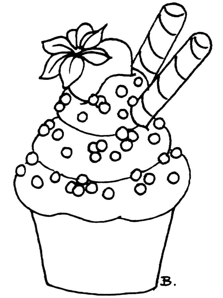 Birthday Cupcake coloring pages. Free Printable Birthday