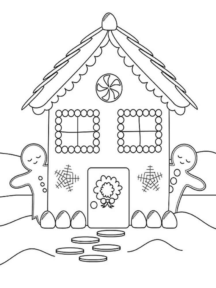 Gingerbread House coloring pages. Free Printable