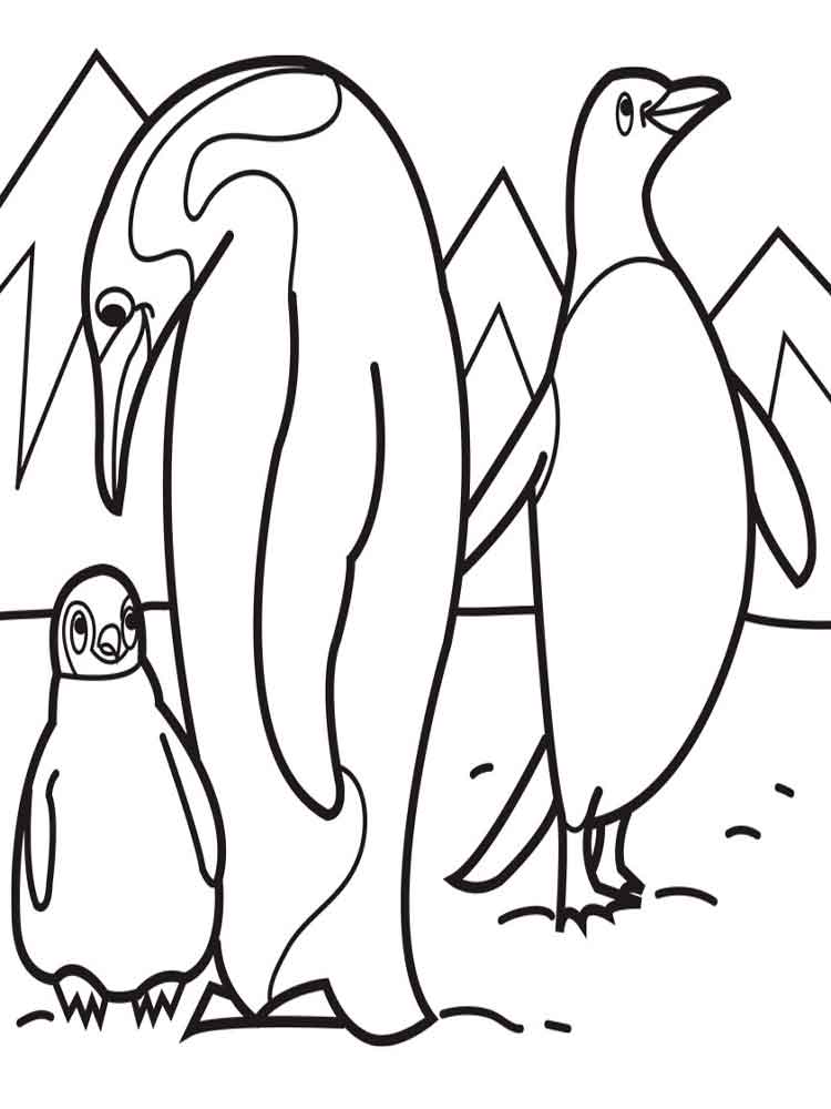 Penguins coloring pages. Download and print Penguins