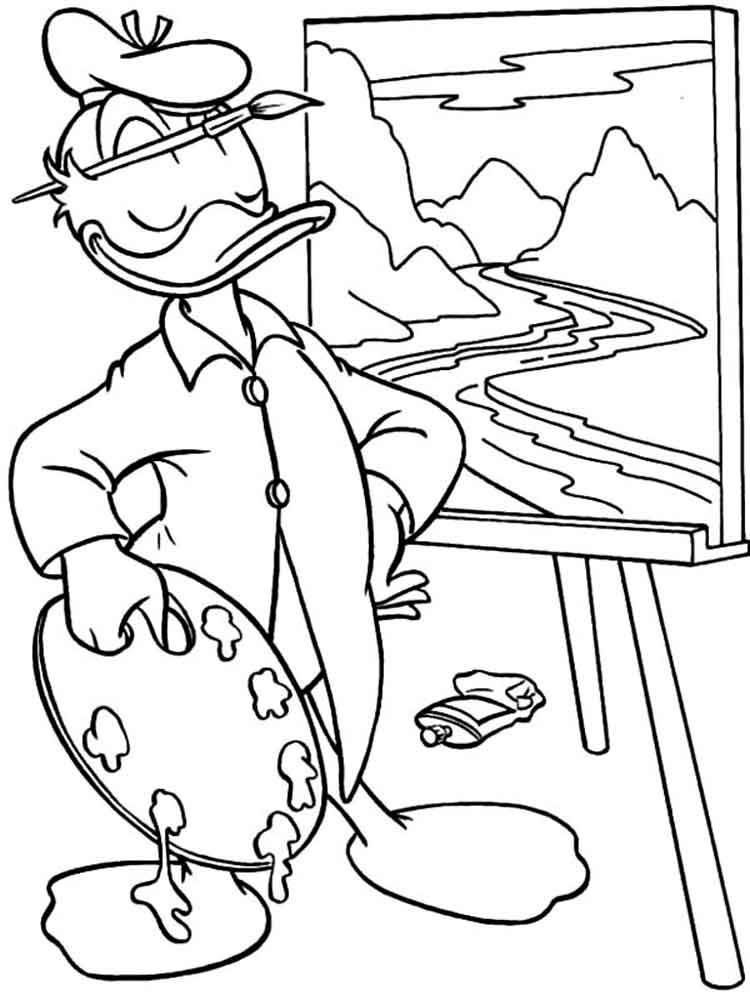 Donald and Daisy Duck coloring pages. Download and print
