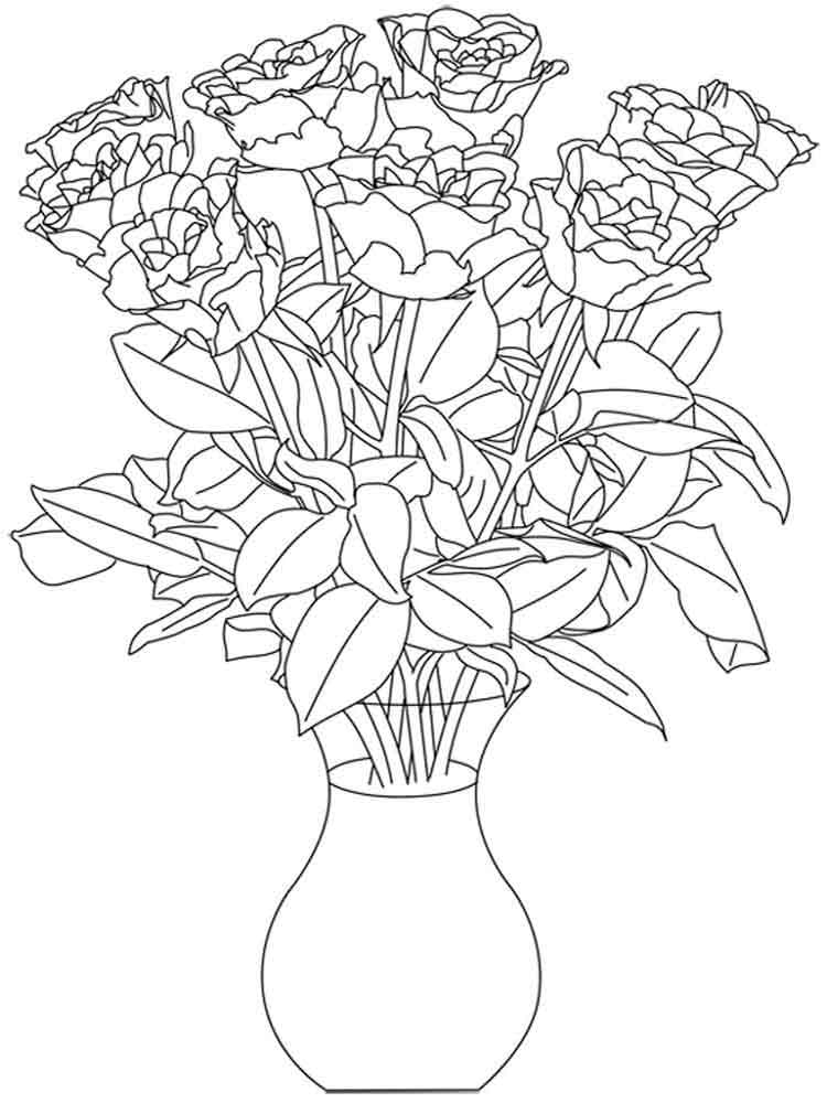 Flowers in a Vase coloring pages. Download and print