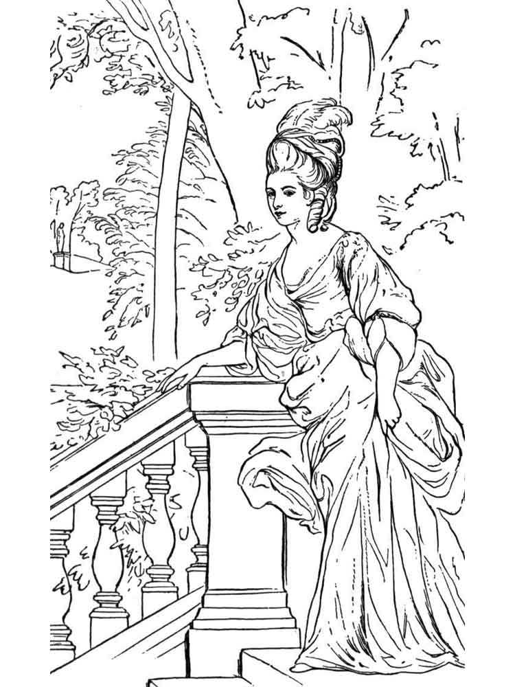 Historical Fashion coloring pages. Free Printable