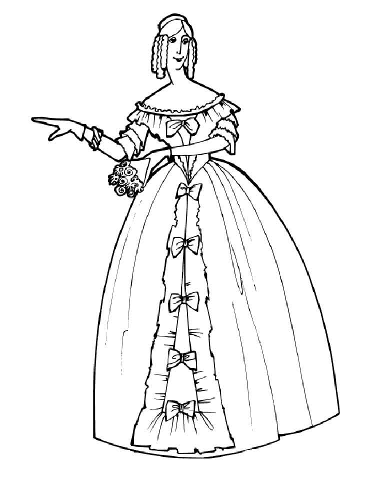 Victorian Woman coloring pages. Free Printable Victorian