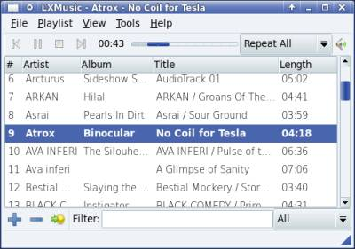 Lxmusic Light Linux Music Player software