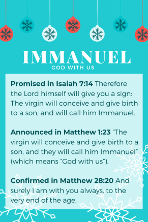 the gift of Immanuel God with us on teal background Christmas Theme with verses