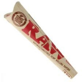 RAW ORGANIC NATURAL UNREFINED HEMP PRE-ROLLED CONES 1 1/4 SIZE, PACK/6