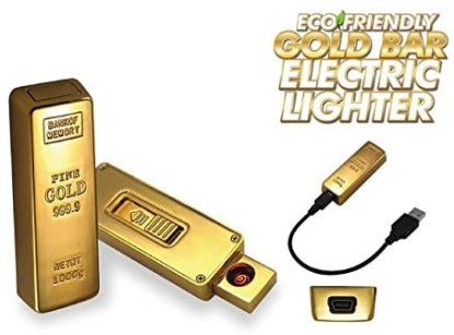 GOLD BAR E-LIGHTER, SOLD INDIVIDUALLY IN BLISTER CARD WITH USB CABLE