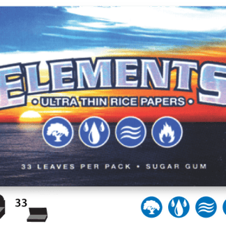 ELEMENTS ULTIMATE THIN RICE ROLLING PAPERS 1 1/2 SIZE, PACK/33