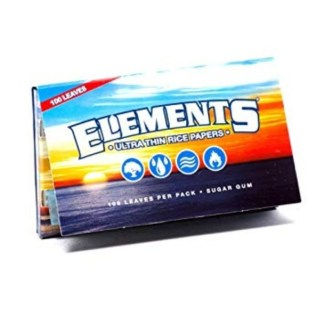 ELEMENTS ULTIMATE THIN RICE ROLLING PAPERS SINGLE WIDE, PACK/100