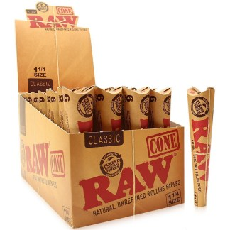 PACK/6 RAW CLASSIC NATURAL UNREFINED HEMP PRE-ROLLED CONES 1 1/4 SIZE