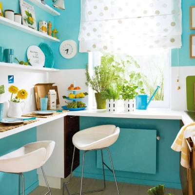 Small But Infinitely Sweet Turquoise Kitchen