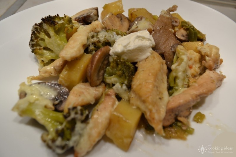 Vegetable Pan With Chicken Steak