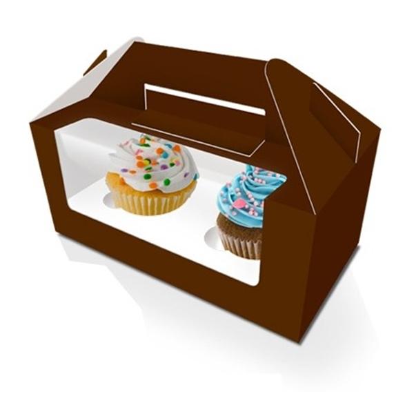caja para 2 cupcakes marron con ventana 14321 1 - Formas de presentar cupcakes estas fiestas navideñas