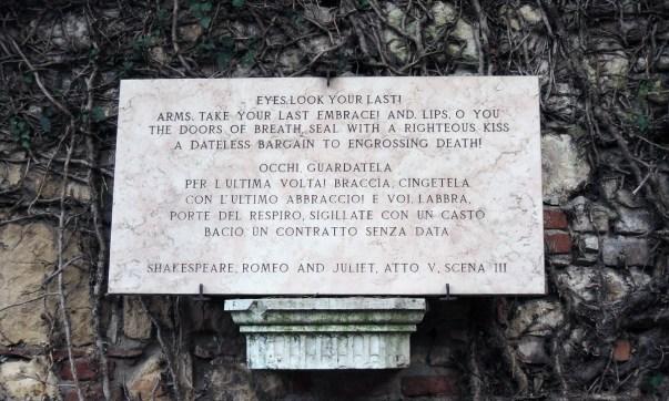 Juliet's death quote, Juliet's tomb