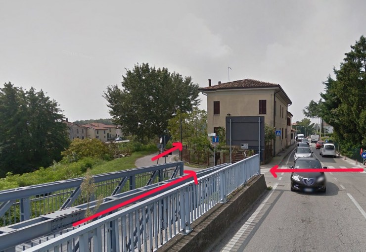 Beginning of the cycle path from Padua to Battaglia