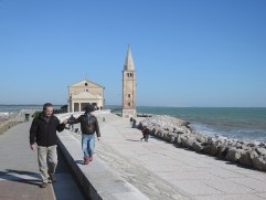 Granpa and grandchild, Caorle beach promenade