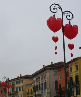 Hearts decorations in Piazza Bra