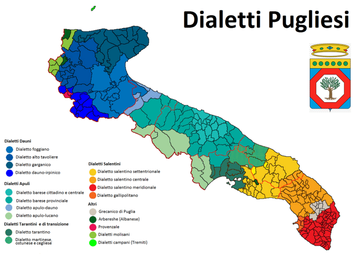 Puglia dialects- Image from Wikipedia -  italian dialects