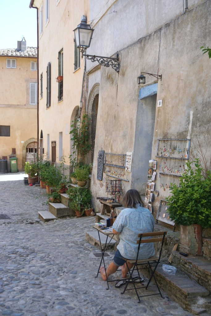 Artist at work in Calcata Italy