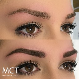 Before and Immediately After Eye Brow Feathering Tattoo
